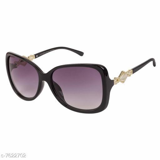 LOF Black Oval Full Rim UV Protected Sunglasses for Women  - (LS-6401)