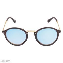 LOF Black Round Full Rim UV Protected Sunglasses for Men - (LS-4001)