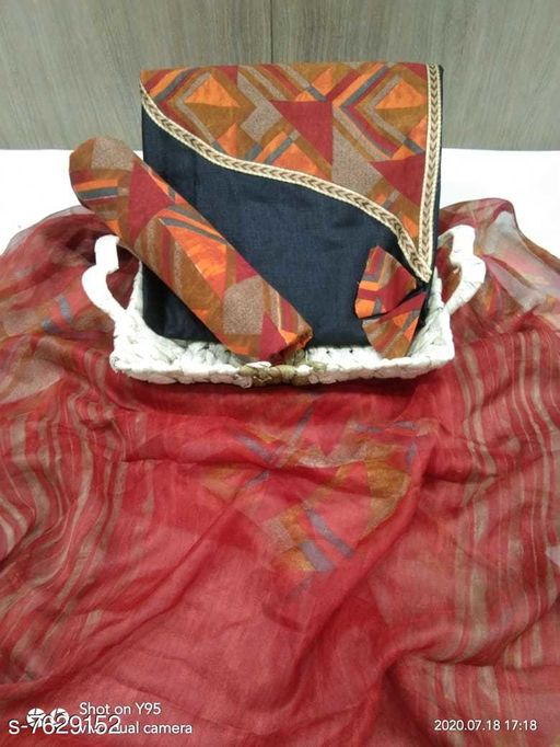 Tulip Prints Women's Black Cotton Printed Unstiched Dress Material