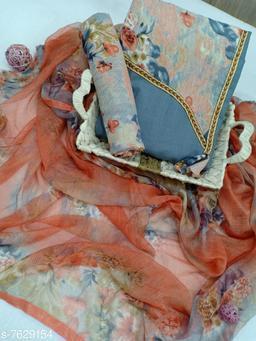 Tulip Prints Women's Grey Cotton Floral Print Unstiched Dress Material