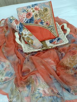 Tulip Prints Women's Orange Cotton Floral Print Unstiched Dress Material