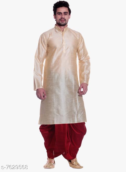 MAG Men's Gold Kurta Red Dhoti