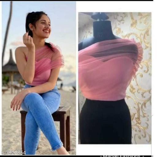 Women's Solid Pink Crepe Top