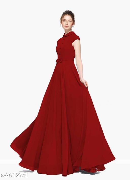 Short Sleeves Full Length Heavy Georgette Women's Maroon Gown