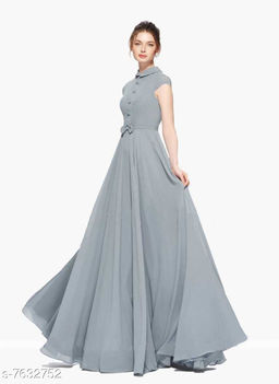 Short Sleeves Full Length Heavy Georgette Women's Grey Gown