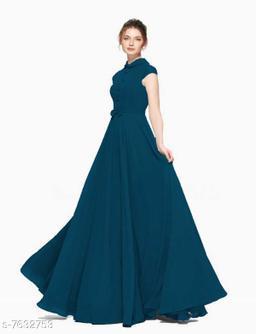 Short Sleeves Full Length Heavy Georgette Women's Blue Gown