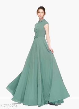 Short Sleeves Full Length Heavy Georgette Women's Green Gown