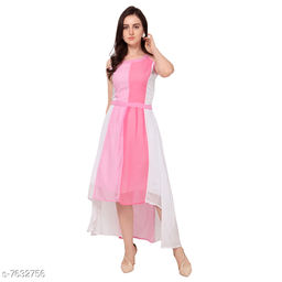 High-Low Sleeveless Pink Georgette Women's Gown