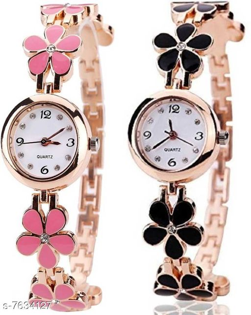Black Panther Pack Of 2 Latest Fashion White Dial Quartz Desginer Analog Watch For Girl and Women BPL-P2-313-BLACK-PINK