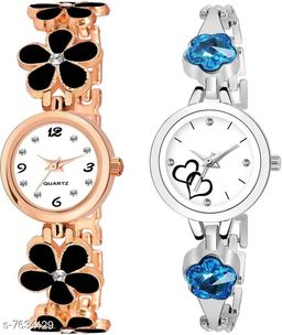 Black Panther Pack Of 2 Latest Fashion White Dial Quartz Desginer Analog Watch For Girl and Women BPL-P2-313-BLACK-939