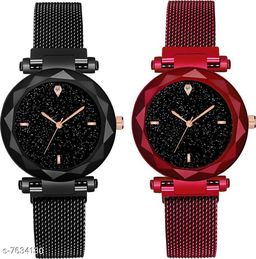 Black Panther Pack Of 2 Latest Fashion Magnet  Black Dial Quartz Desginer Analog Watch For Girl and Women BPL-P2-1008-BLACK-RED