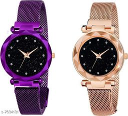 Black Panther Pack Of 2 Latest Fashion Magnet  Black Dial Quartz Desginer Analog Watch For Girl and Women BPL-P2-1009-ROSEGOLD-PURPLE