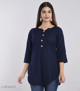 Women's Solid Blue Rayon Top