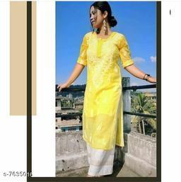 Women Georgette A-line Chikankari Yellow Kurti