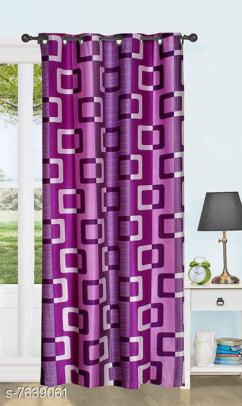 Polyester Box Curtains Pack of 1Curtain   Door (Purple, 7 Feet)