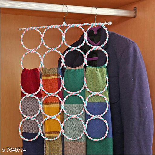 Apparel Storage KitchenFest® 28 Rings Metal Folding Rope Hanger Accessory Wardrobe Organizer & Closet Organizer Scarf Hanger, No Snag Storage for Scarves, Ties, Belts, Shawls, Pashminas, Accessories Scarf Organizer  *Material* Metal  *Pack* Pack of 1  *Product Length* 72 cm  *Product Breadth* 36 cm  *Product Height* 1 cm  *Sizes Available* Free Size *    Catalog Name: Essential Clothes Hangers CatalogID_1239644 C131-SC1628 Code: 223-7640774-996