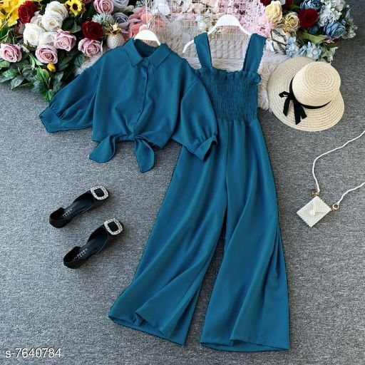 Spaghetti Strap Smocking Two piece Wide leg jumpsuit with stand up collar shirt with tie up pattern-Free size- Blue