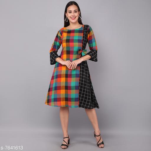 Women's Self-Design Multicolor Rayon Dress