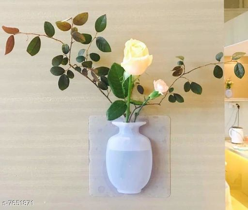 Removable Silicone Vases, Strong Adhesion Magic Flower Pot Home Kitchen Office Decorative Sticky Vase-E