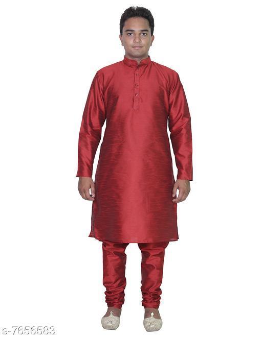 Trendy Banarasi Dupion Silk Men's Kurta Set
