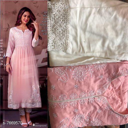 Women's Embroidered Anarkali Kurta with Pants
