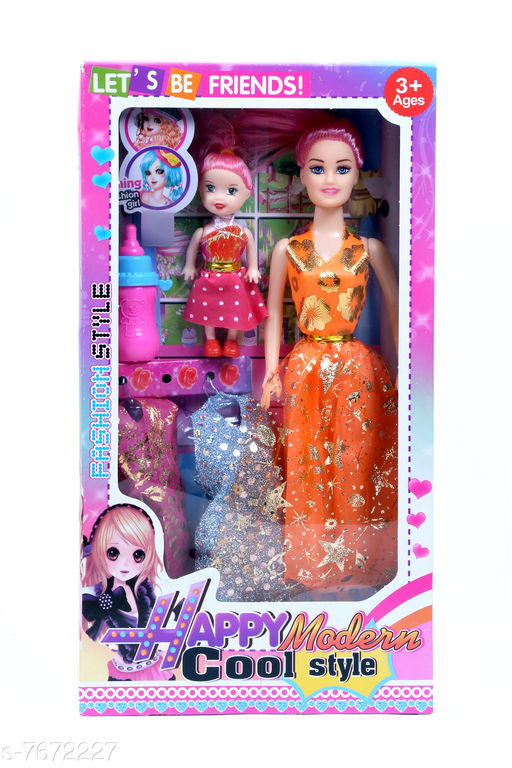 Dolls Aap Ki Ladli Orange Cloth Doll for Girls Doll Set for Girls Big Doll with Baby Doll Happy Modern Doll, Beautiful Doll for Your Princess Cute Doll Set for Girls Kids 3+ Years   *Material* Plastic  *Multipack* 2  *Sizes*   *Free Size (Length Size* 12 in, Width Size  *Sizes Available* Free Size *    Catalog Name: Wonderful Unisex Dolls CatalogID_1246433 C86-SC1291 Code: 523-7672227-994
