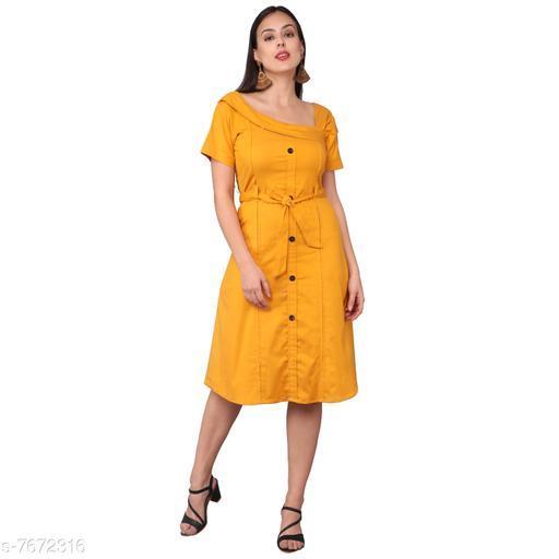 Women's Self-Design Mustard Lycra Dress