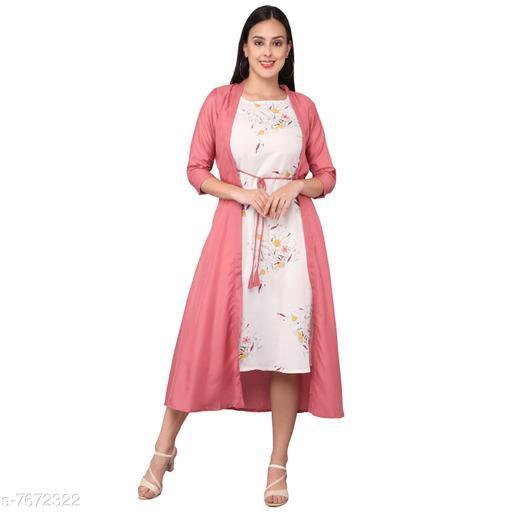 Women's Self-Design Peach Kora Muslin Dress
