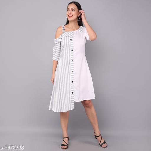 Women's Self-Design White Rayon Dress