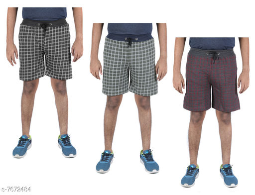 Indirang Pack of 3 Men's Multicolor Cotton Shorts Free size Fits to waist upto 36 inchs (short3-08)