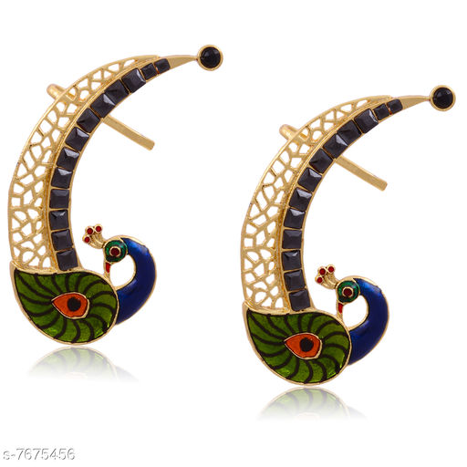 Earrings & Studs Beautiful Peacock Design Ear Cuff  *Base Metal* Brass & Copper  *Plating* Rhodium Plated  *Stone Type* American Diamond  *Sizing* Non-Adjustable  *Type* Ear Cuff  *Sizes Available* Free Size *    Catalog Name: Princess Chic Earrings CatalogID_1247146 C77-SC1091 Code: 103-7675456-