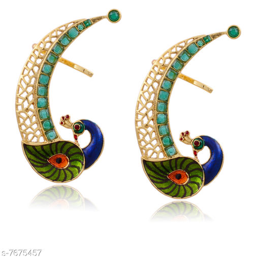 Earrings & Studs Beautiful Peacock Design Ear Cuff  *Base Metal* Brass & Copper  *Plating* Rhodium Plated  *Stone Type* American Diamond  *Sizing* Non-Adjustable  *Type* Ear Cuff  *Sizes Available* Free Size *    Catalog Name: Princess Chic Earrings CatalogID_1247146 C77-SC1091 Code: 103-7675457-