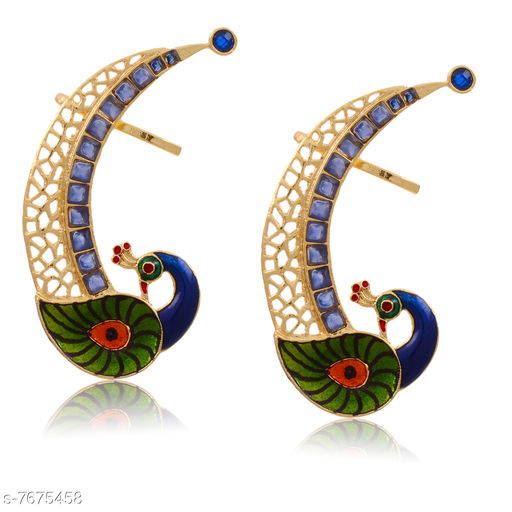 Earrings & Studs Beautiful Peacock Design Ear Cuff  *Base Metal* Brass & Copper  *Plating* Rhodium Plated  *Stone Type* American Diamond  *Sizing* Non-Adjustable  *Type* Ear Cuff  *Sizes Available* Free Size *    Catalog Name: Princess Chic Earrings CatalogID_1247146 C77-SC1091 Code: 103-7675458-