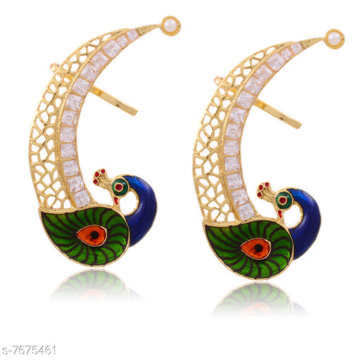 Earrings & Studs Beautiful Peacock Design Ear Cuff  *Base Metal* Brass & Copper  *Plating* Rhodium Plated  *Stone Type* American Diamond  *Sizing* Non-Adjustable  *Type* Ear Cuff  *Sizes Available* Free Size *    Catalog Name: Princess Chic Earrings CatalogID_1247146 C77-SC1091 Code: 103-7675461-