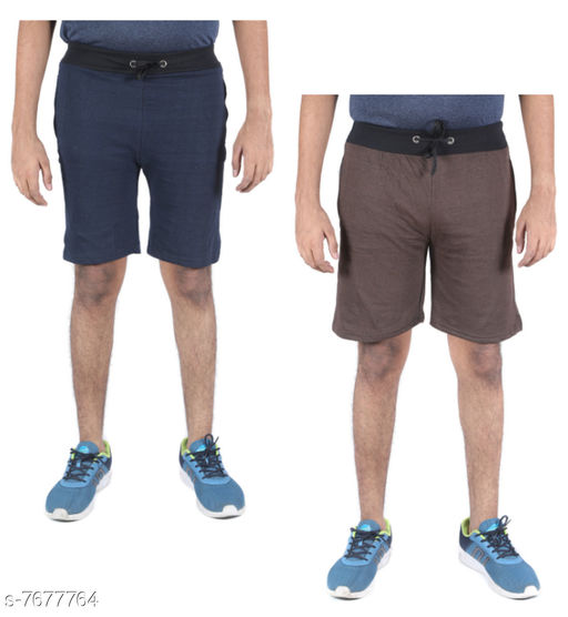 Indirang Pack of 2 Men's Multicolor Cotton Shorts Free size Fits to waist upto 36 inchs (short2-01)