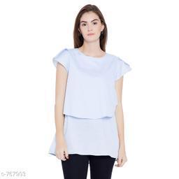 Women's Solid Blue Cotton Top