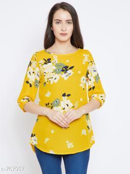 Women's Printed Yellow Crepe Top
