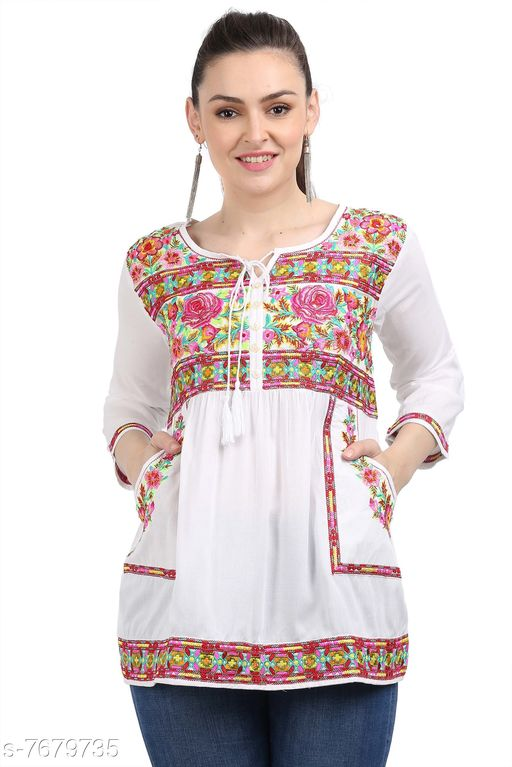 Women's Embroidered White Rayon Top