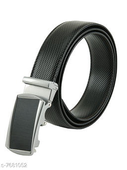 Winsome Deal Fresh Look Black Premium Quality Artificial Leather belt for Men's with Smooth Auto Lock Buckle
