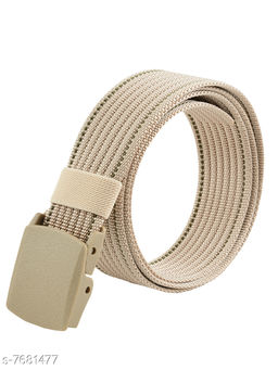 Winsome Deal Trendy Canvas Beige Army Belt for Men's