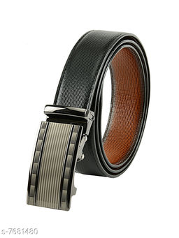 Winsome Deal Stylish, Artificial Leather, Glossy Reversible Belt for Men's with New Design Auto-Lock Buckle