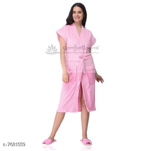 Bathrobes Beautiful Cotton Bathrobes  *Material* Cotton  *Type* Bathrobe  *Pattern* Solid  *Multipack* 1  *Sizes*   *Free Size (Length Size* 42 in)  *Sizes Available* Free Size *    Catalog Name: Comfortable Colorful Womens Towel, Bathrobes & Showercaps CatalogID_1248437 C76-SC1051 Code: 7321-7681559-