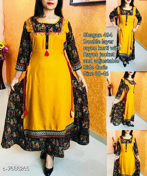 Women Cotton Slub Layered Printed Yellow Kurti