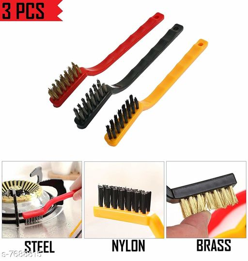 KitchenFest® Mini Wire Brush Set, Cleaning Tool Kit - Brass, Nylon, Stainless Steel Bristles
