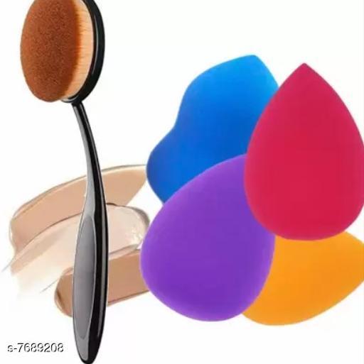 Makeup Sponge Set with Foundation Brush, Oval