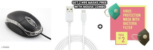 Optical USB Wired Mouse (Black) along with Micro USB Cable and get free 2 N95 masks