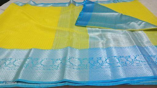 Trendy Banarasi orangza Silk Saree