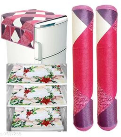 Fridge Cover With 6 Utility Pockets and 3 Piece Mat and 2 Handle Cover