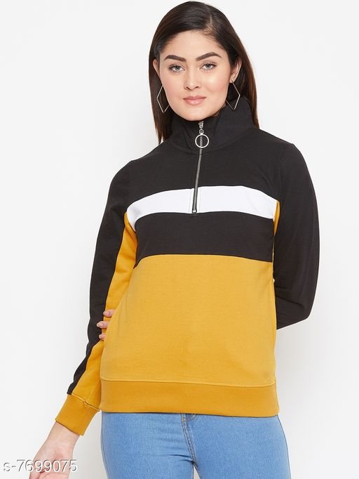 Austin Wood Women's Mustard Colorblocked High Neck Sweatshirt