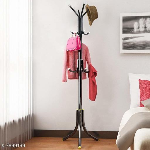 Go Hooked Wrought Iron Coat Rack Hanger Creative Fashion Bedroom for Hanging Clothes Shelves, Wrought Iron Racks Standing Coat Rack (Black) (Pack of 1 Hanger) (3 Tier, 12 Hooks)